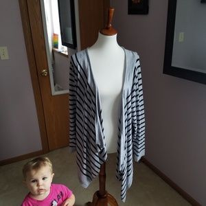 Old Navy Grey Stripe Draped Cardigan